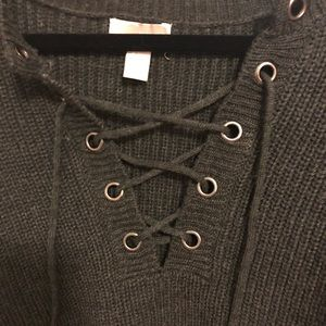 Forever 21 Sweaters - Cropped Lace Up Sweater